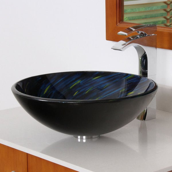 Elite 1403 Modern Yellow/ Blue Tempered Glass Bathroom Vessel Sink