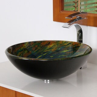 Elite 1404 Modern Multicolored Tempered Glass Bathroom Vessel Sink