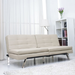 Memphis Sand Double Cushion Futon Sofa Bed