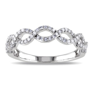 Miadora 14k White Gold 1/4ct TDW Diamond Infinity Ring