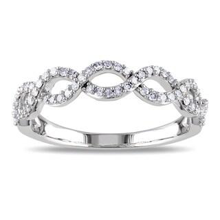 Miadora 14k White Gold 1/4ct TDW Diamond Infinity Ring