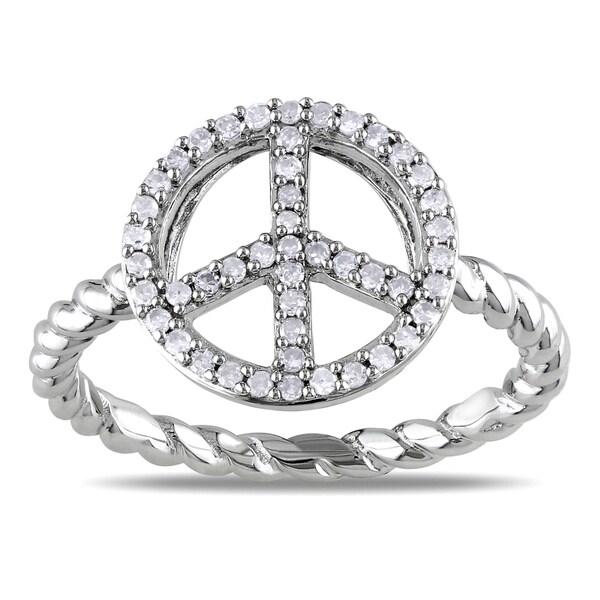 Miadora 10k White Gold 1/5ct TDW Diamond Peace Ring