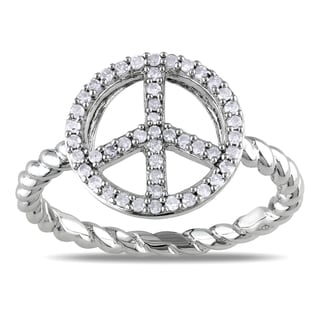 Miadora 10k White Gold 1/5ct TDW Diamond Peace Ring
