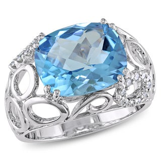 Miadora Signature Collection 18k White Gold Blue Topaz and 1/6ct TDW Diamond Cocktail Ring (G-H, I1-I2)