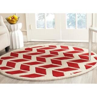 Safavieh Handmade Moroccan Chatham Red/ Ivory Wool Rug (5' Round)