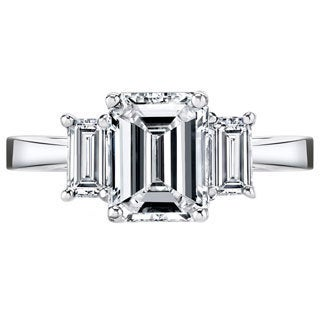 Platinum 3 1/2ct TDW Certified Emerald-cut 3-stone Diamond Ring (More options available)