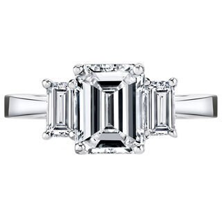 Platinum 3 1/2ct TDW Certified Emerald-cut 3-stone Diamond Ring