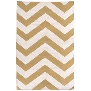 Indo Lexington Beige/ White Cotton Area Rug (4' x 6')