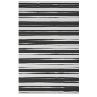 Hand-woven Indo Lucky Grey/White Contemporary Stripe Area Rug (5' x 8')