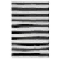 Hand-woven Indo Lucky Grey/ White Contemporary Stripe PET Area Rug - 8' x 10'
