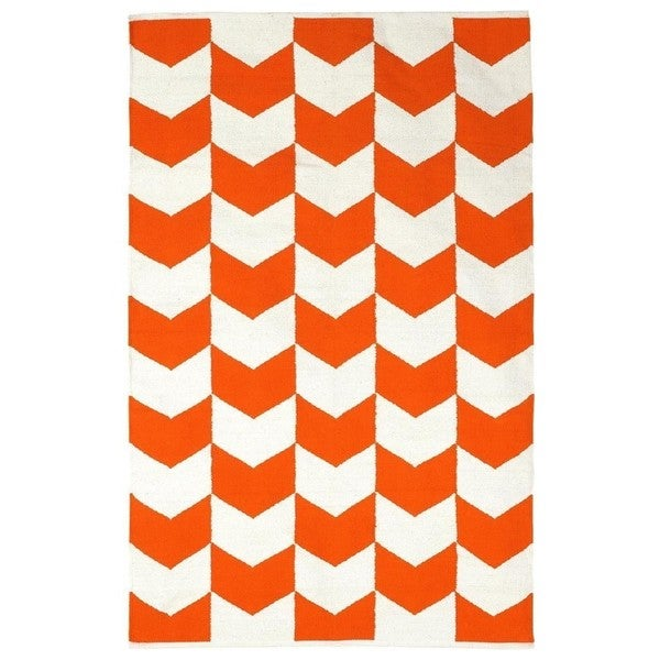 Handmade Indo Metropolitan Orange/ Bright White Cotton Rug (India) - 5' x 8'