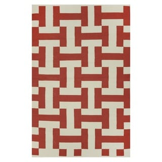 Indo Hand-woven Canal Paprika/ Beige Contemporary Geometric Area Rug (5' x 8')