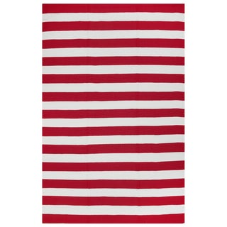 Indo Hand-woven Nantucket Red/ White Contemporary Stripe Area Rug (8' x 10')