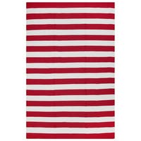 Fab Habitat, Indoor/Outdoor Floor Rug Nantucket Red/ White Contemporary Stripe Area Rug (6' x 9') - 6' x 9'