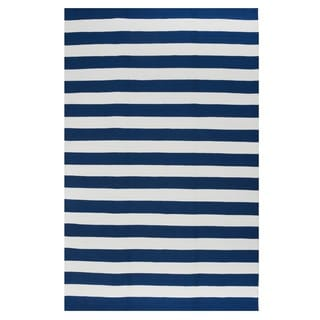 Indo Hand-woven Nantucket Blue/ White Contemporary Stripe Area Rug (8' x 10')