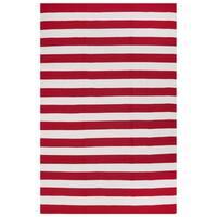 Fab Habitat, Indoor/Outdoor Floor Rug Nantucket Red/ White Contemporary Stripe Area Rug (5' x 8') - 5' x 8'