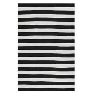 Indo Hand-woven Nantucket Black/ White Contemporary Stripe Area Rug (8' x 10')
