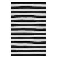 Fab Habitat, Indoor/Outdoor Floor Rug Nantucket Black/ White Contemporary Stripe Area Rug (8' x 10') - N/A