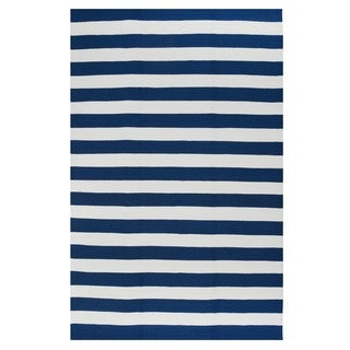 Indo Hand-woven Nantucket Blue/ White Contemporary Stripe Area Rug (5' x 8')