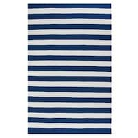 Fab Habitat, Indoor/Outdoor Floor Rug Nantucket Blue/ White Contemporary Stripe Area Rug (5' x 8')