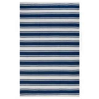 Hand-woven Indo Lucky Blue/ White Contemporary Stripe Area Rug (8' x 10')