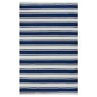 Handmade Indo Lucky Blue/ White Contemporary Stripe PET Area Rug - 5' x 8' (India)