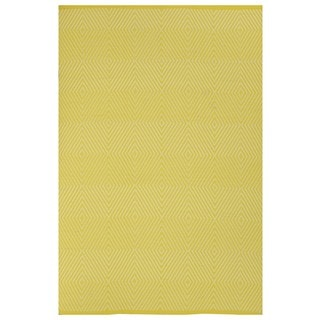 Indo Hand-woven Zen Yellow/ White Contemporary Diamond Area Rug (5' x 9')