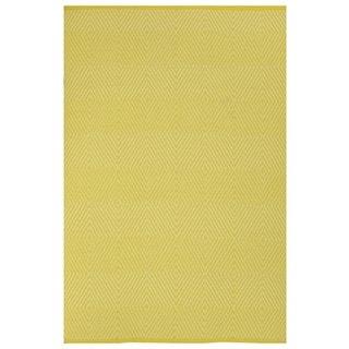 Indo Hand-woven Zen Yellow/ White Contemporary Diamond Area Rug (5' x 9')