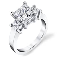 Platinum 3 1/2ct TDW Certified Princess-cut 3-stone Diamond Ring
