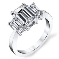Platinum 2 1/2ct TDW Certified Emerald-cut Diamond Engagement Ring