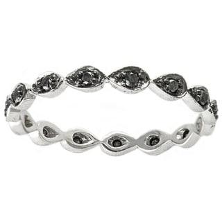 Beverly Hills Charm 10k White Gold 1/5ct TDW Black Diamond Stackable Eternity Band Ring (H-I, I1-I2)