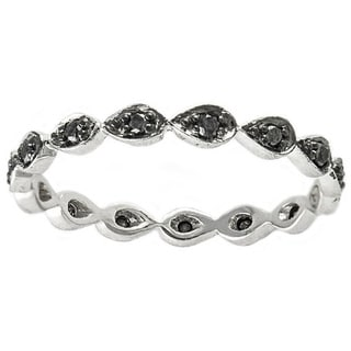 Beverly Hills Charm 10k White Gold 1/5ct TDW Black Diamond Stackable Eternity Band Ring