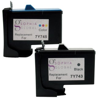 Sophia Global Remanufactured Ink Cartridge Replacement for Dell 7Y743 and 7Y745 (1 Black, 1 Color)