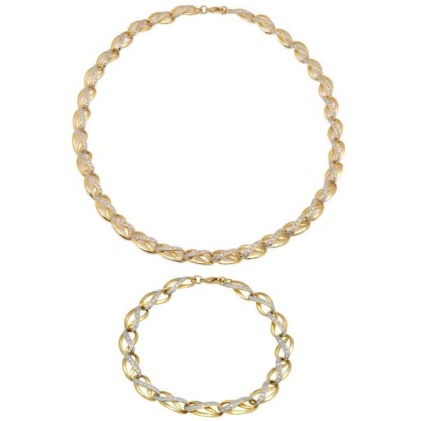 Finesque 1/4ct TDW Diamond Link Necklace with Bonus Bracelet