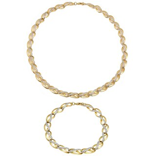Finesque 1/4ct TDW Diamond Link Necklace with Bonus Bracelet