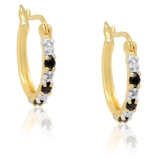 Dolce Giavonna Gold over Sterling Silver Sapphire/ Diamond Accent Hoop Earrings with Bonus Ruby Earrings