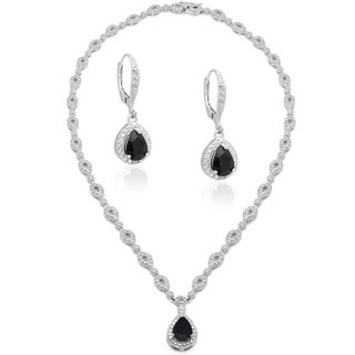 Dolce Giavonna Silver Overlaid Brass Sapphire/ Diamond Accent Teardrop Necklace with Bonus Dangle Earrings