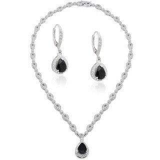 Dolce Giavonna Silver Overlaid Brass Sapphire/ Diamond Accent Teardrop Necklace with Bonus Dangle Ea