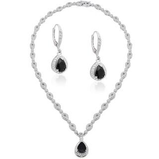 Dolce Giavonna Silver Overlaid Brass Sapphire/ Diamond Accent Teardrop Necklace with Bonus Dangle Ea
