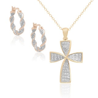 Finesque Gold over Sterling Silver Diamond Accent Twisted Cross Pendant with Bonus Hoops