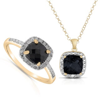 Dolce Giavonna Gold over Sterling Silver 1/10ct TDW Diamond Cushion-cut Sapphire Ring with Bonus Necklace
