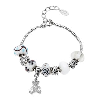 La Preciosa Silvertone Crystal and Glass Teddy Bear Charm Bracelet