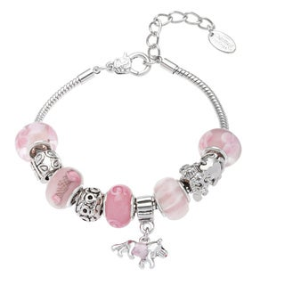 La Preciosa Silvertone Crystal and Glass Dog Charm Bracelet