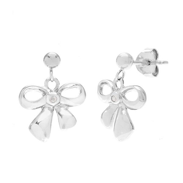 La Preciosa Sterling Silver Diamond Bow Earrings