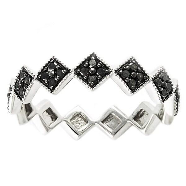 10k White Gold 1/4ct TDW Black Diamond Stackable Geometric Diamond Band Ring