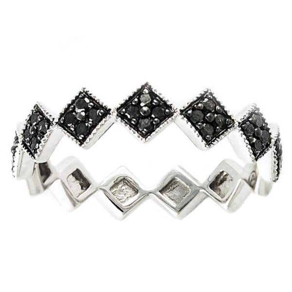 Beverly Hills Charm 10k White Gold 1/4ct TDW Black Diamond Stackable Geometric Diamond Band Ring