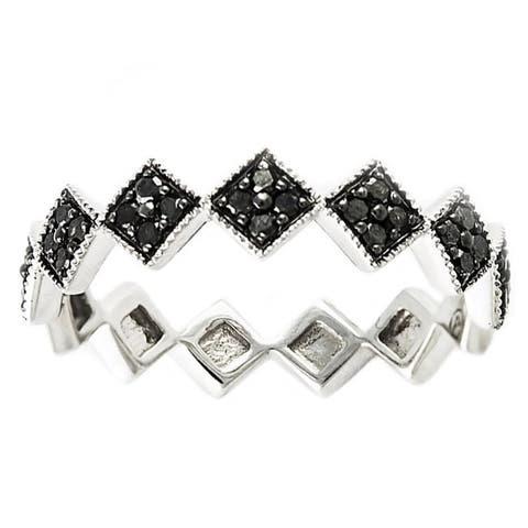10k White Gold 1/4ct TDW Black Diamond Vintage inspired Stackable Diamond Ring