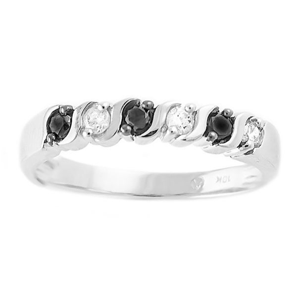 Beverly Hills Charm 10k White Gold 1/4ct TDW Black and White Diamond Stackable Band Ring