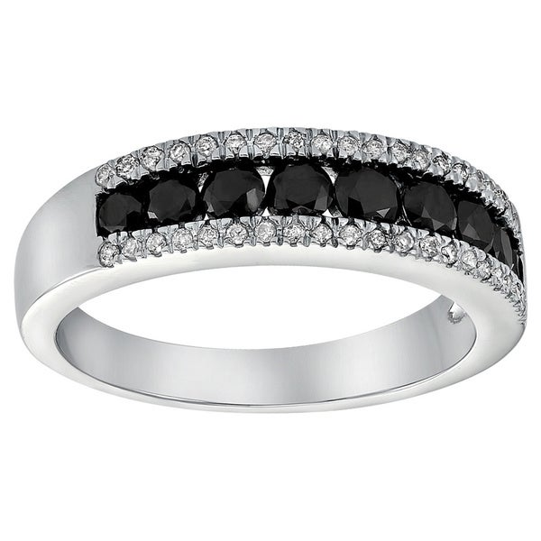 Beverly Hills Charm 10k White Gold 4/5ct Diamond Two-row Channel Band Ring