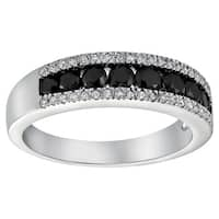 10k White Gold 4/5ct Diamond Two-row Channel Band Ring